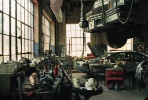 Interior of Messy Car Repair Shop