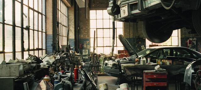 Interior of Messy Car Repair Shop